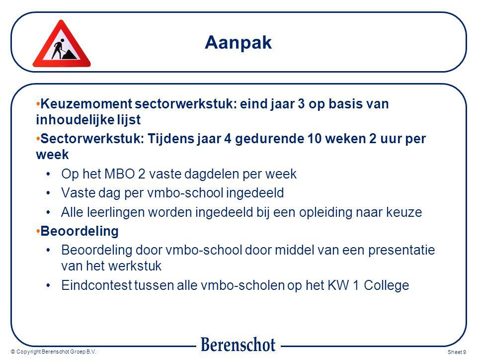 © Copyright Berenschot Groep B.V. Sheet 9 Aanpak Keuzemoment sectorwerkstuk: eind jaar 3 op basis van inhoudelijke lijst Sectorwerkstuk: Tijdens jaar