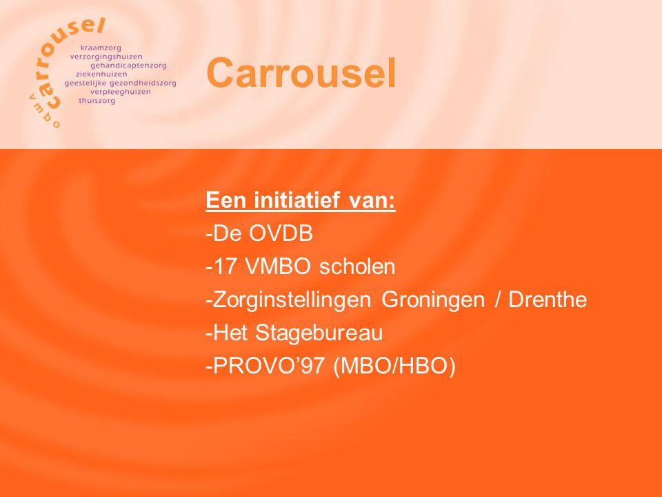 Een initiatief van: -De OVDB -17 VMBO scholen -Zorginstellingen Groningen / Drenthe -Het Stagebureau -PROVO'97 (MBO/HBO) Carrousel