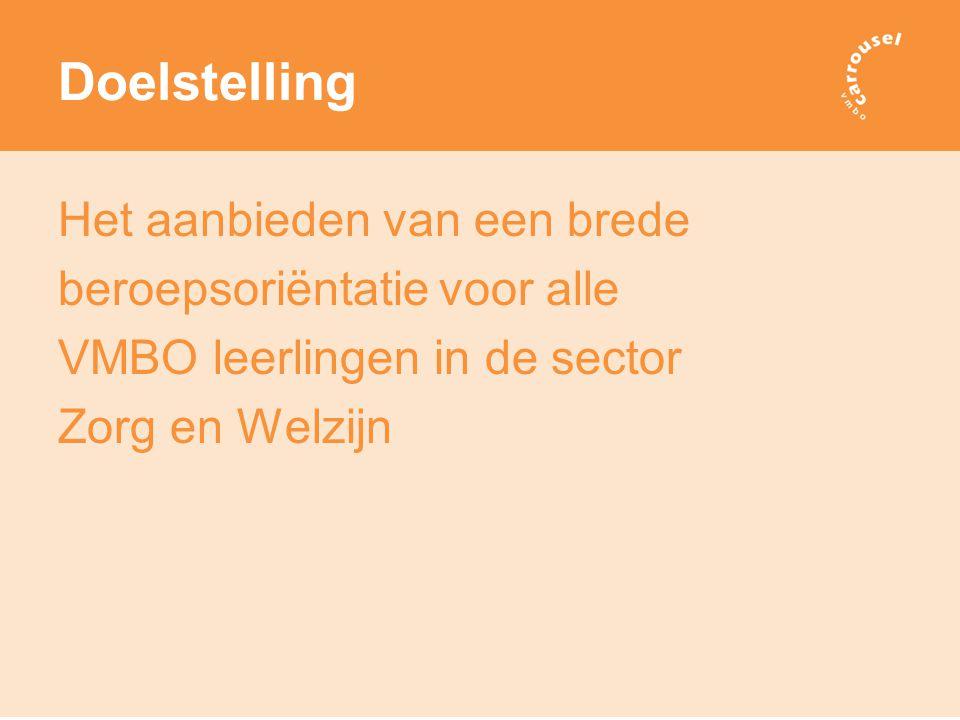 Doelstelling Het aanbieden van een brede beroepsoriëntatie voor alle VMBO leerlingen in de sector Zorg en Welzijn