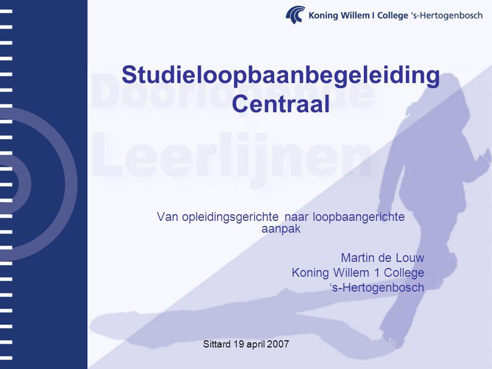 Sittard 19 april 2007 Studieloopbaanbegeleiding Centraal Van opleidingsgerichte naar loopbaangerichte aanpak Martin de Louw Koning Willem 1 College 's-Hertogenbosch