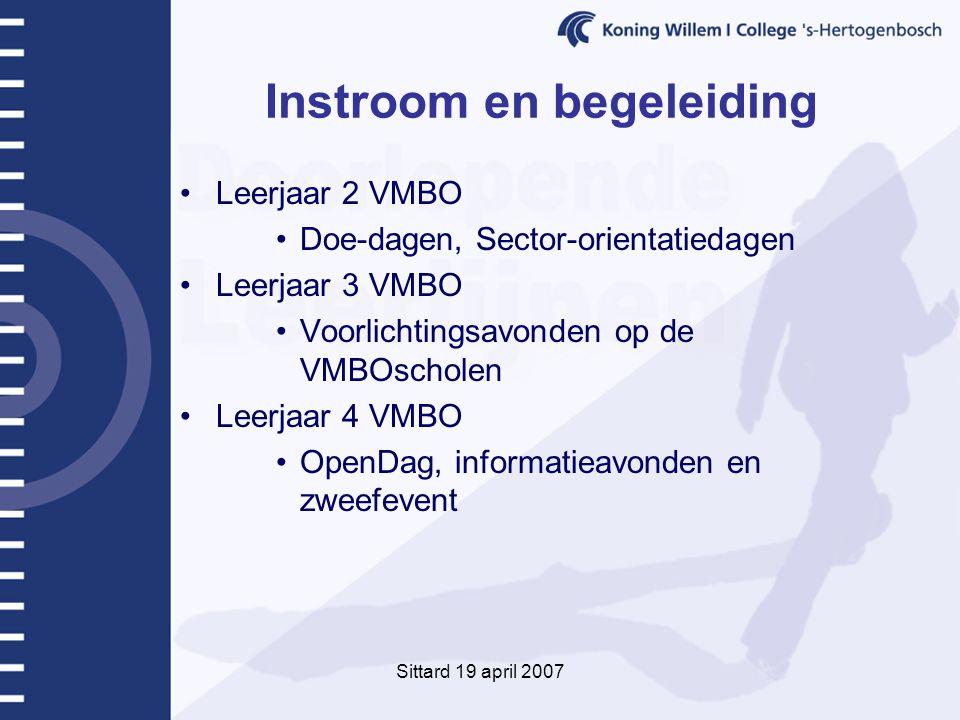 Sittard 19 april 2007 Instroom en begeleiding Leerjaar 2 VMBO Doe-dagen, Sector-orientatiedagen Leerjaar 3 VMBO Voorlichtingsavonden op de VMBOscholen Leerjaar 4 VMBO OpenDag, informatieavonden en zweefevent