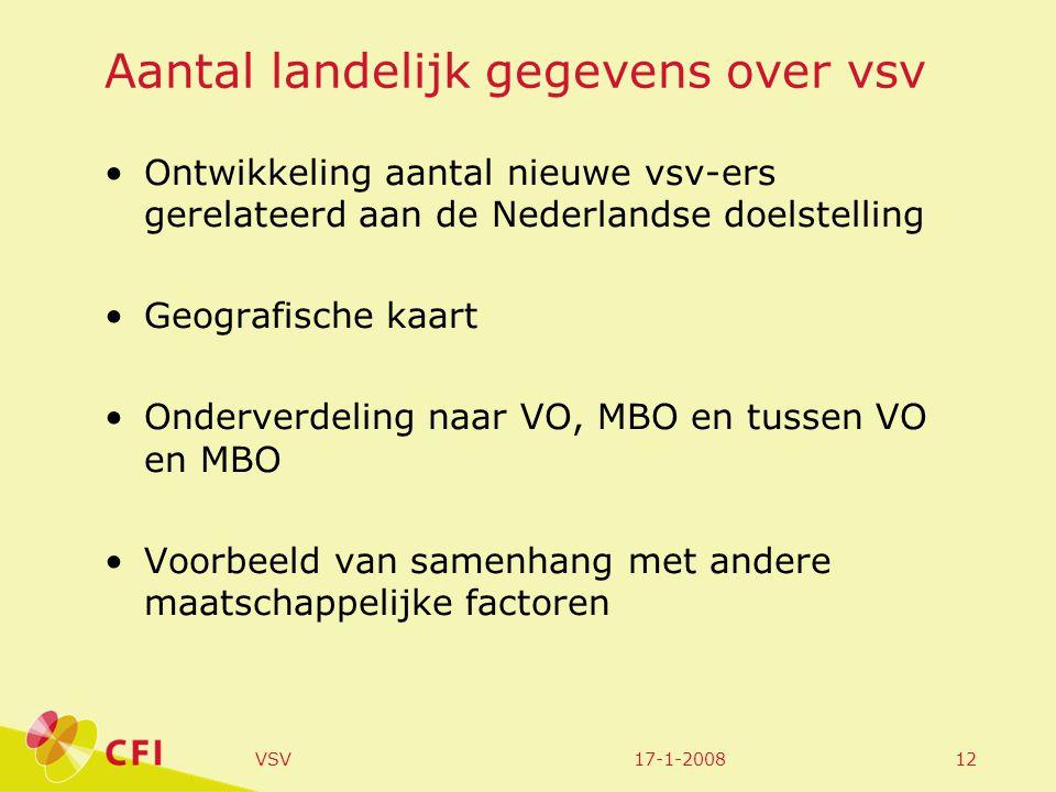17-1-2008VSV12 Aantal landelijk gegevens over vsv Ontwikkeling aantal nieuwe vsv-ers gerelateerd aan de Nederlandse doelstelling Geografische kaart On