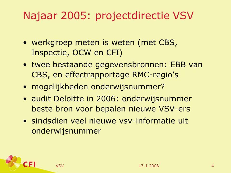 17-1-2008VSV4 Najaar 2005: projectdirectie VSV werkgroep meten is weten (met CBS, Inspectie, OCW en CFI) twee bestaande gegevensbronnen: EBB van CBS, en effectrapportage RMC-regio's mogelijkheden onderwijsnummer.