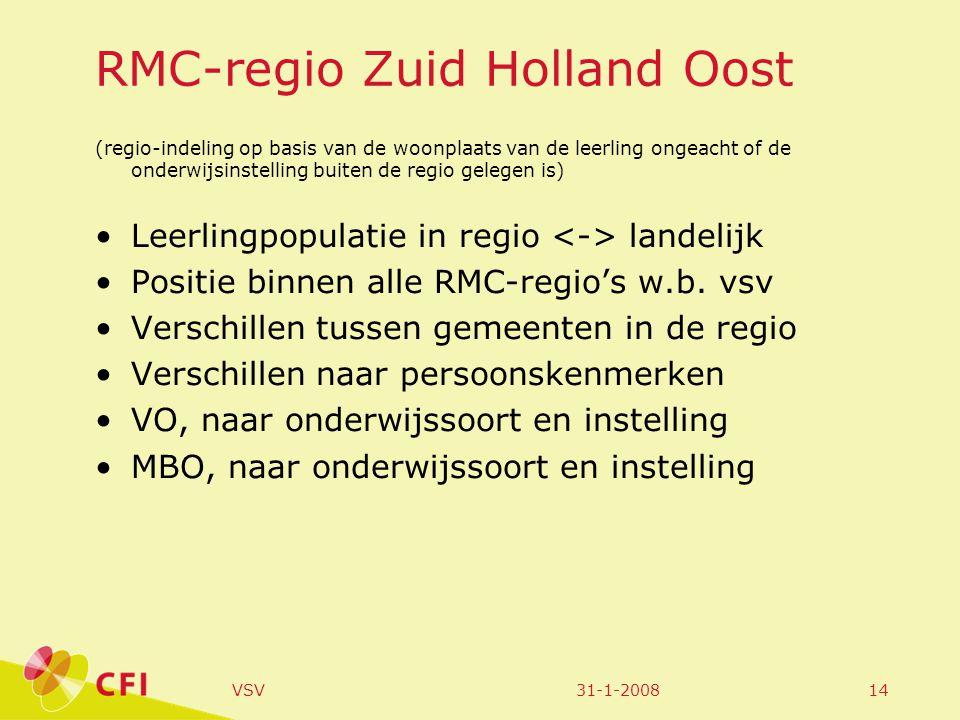 31-1-2008VSV14 RMC-regio Zuid Holland Oost (regio-indeling op basis van de woonplaats van de leerling ongeacht of de onderwijsinstelling buiten de regio gelegen is) Leerlingpopulatie in regio landelijk Positie binnen alle RMC-regio's w.b.