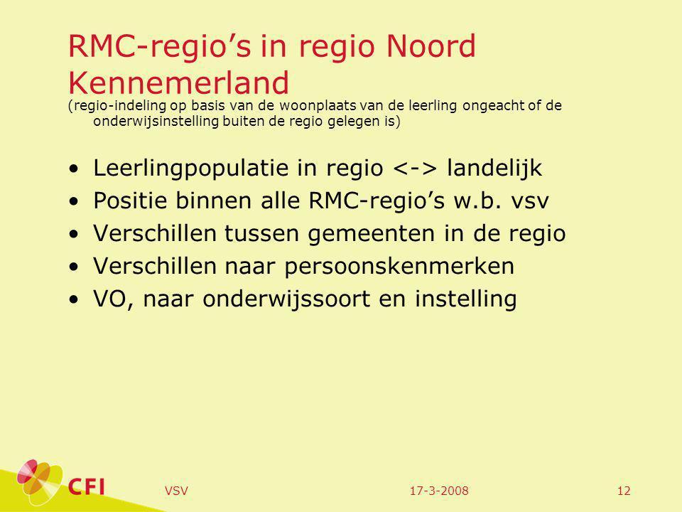 17-3-2008VSV12 RMC-regio's in regio Noord Kennemerland (regio-indeling op basis van de woonplaats van de leerling ongeacht of de onderwijsinstelling buiten de regio gelegen is) Leerlingpopulatie in regio landelijk Positie binnen alle RMC-regio's w.b.