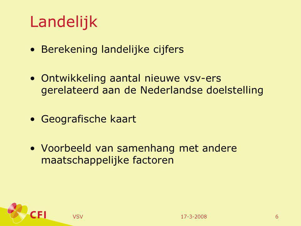 17-3-2008VSV6 Landelijk Berekening landelijke cijfers Ontwikkeling aantal nieuwe vsv-ers gerelateerd aan de Nederlandse doelstelling Geografische kaart Voorbeeld van samenhang met andere maatschappelijke factoren