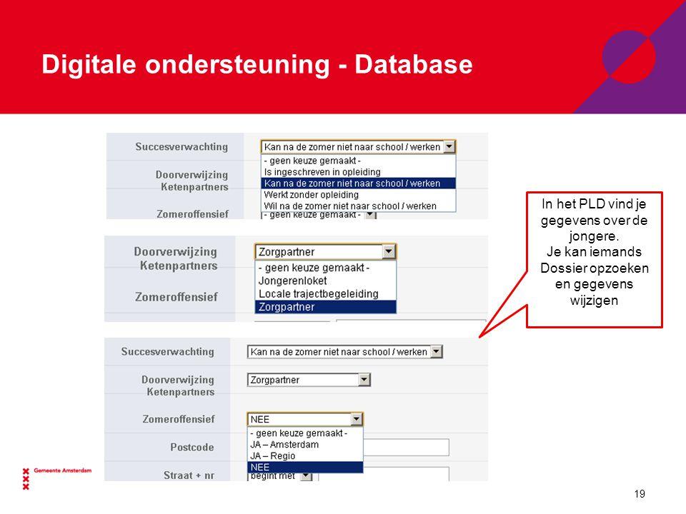 Digitale ondersteuning - Database In het PLD vind je gegevens over de jongere.