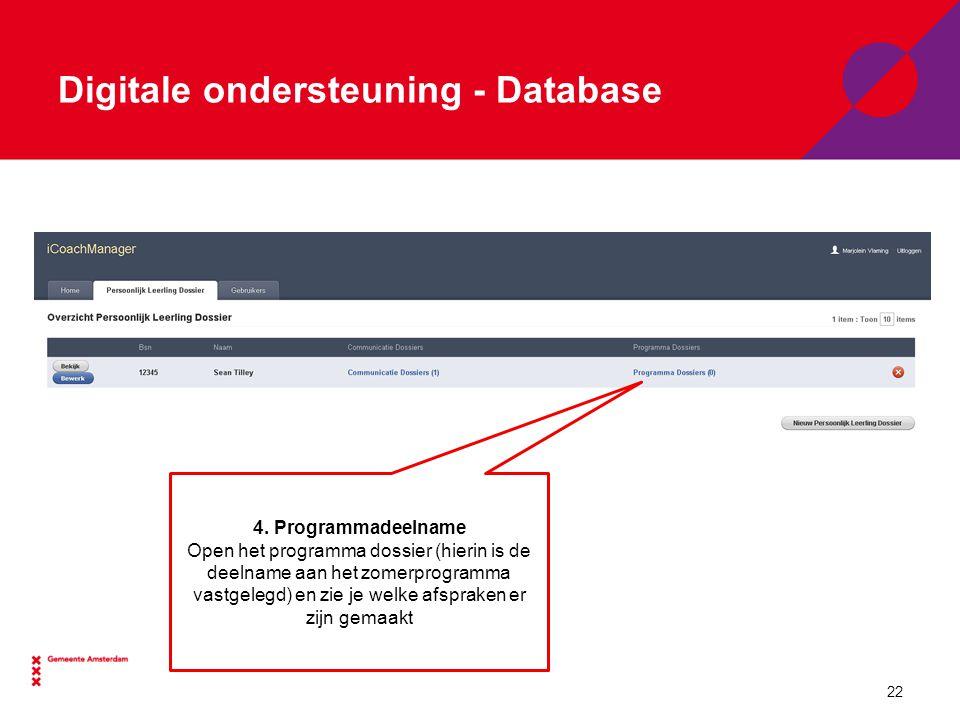 Digitale ondersteuning - Database 4.