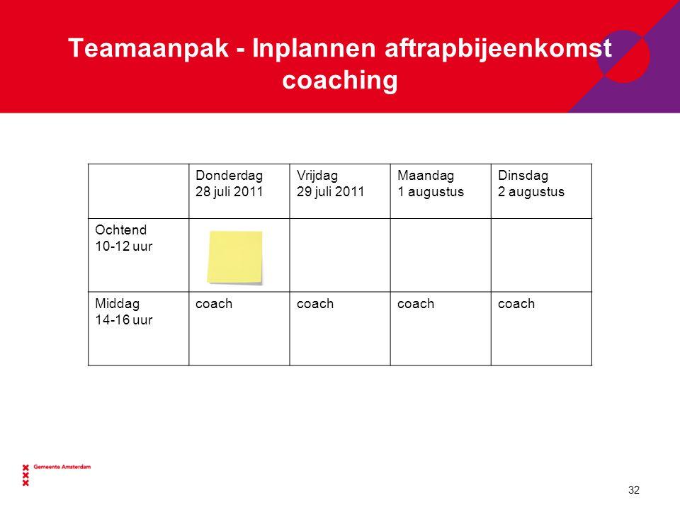 Teamaanpak - Inplannen aftrapbijeenkomst coaching Donderdag 28 juli 2011 Vrijdag 29 juli 2011 Maandag 1 augustus Dinsdag 2 augustus Ochtend 10-12 uur Middag 14-16 uur coach 32