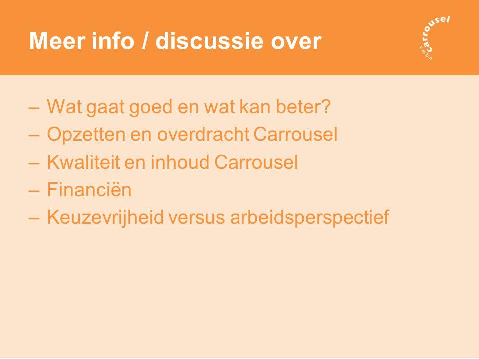 Meer info / discussie over –Wat gaat goed en wat kan beter.