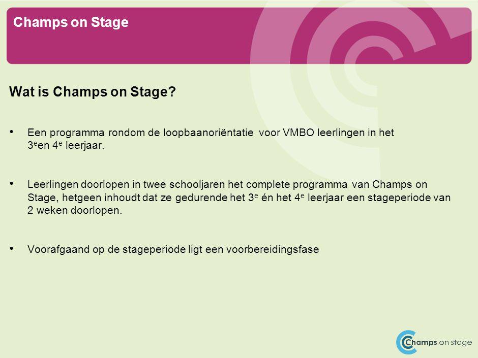 Champs on Stage Wat is Champs on Stage? Een programma rondom de loopbaanoriëntatie voor VMBO leerlingen in het 3 e en 4 e leerjaar. Leerlingen doorlop