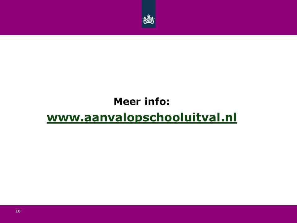 10 Meer info: www.aanvalopschooluitval.nl