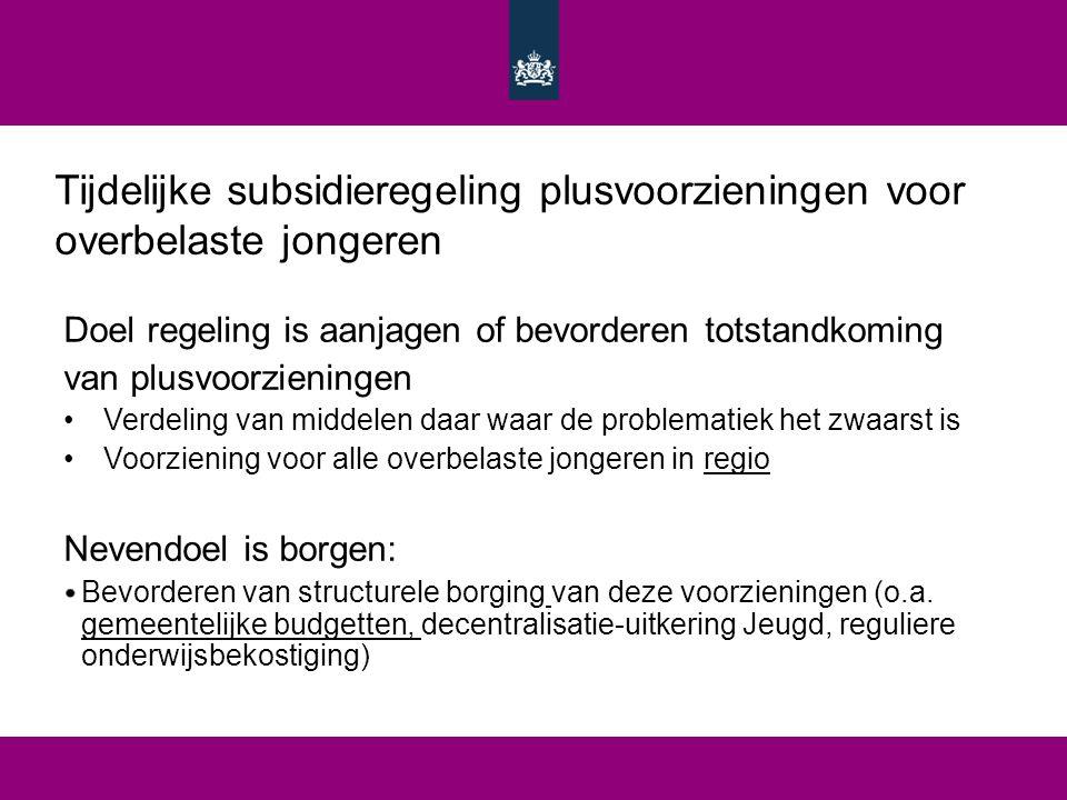 Tijdelijke subsidieregeling plusvoorzieningen voor overbelaste jongeren Doel regeling is aanjagen of bevorderen totstandkoming van plusvoorzieningen V