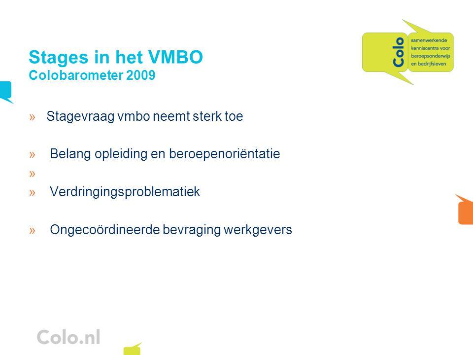 Stages in het VMBO Colobarometer 2009 »Stagevraag vmbo neemt sterk toe » Belang opleiding en beroepenoriëntatie » » Verdringingsproblematiek » Ongecoördineerde bevraging werkgevers
