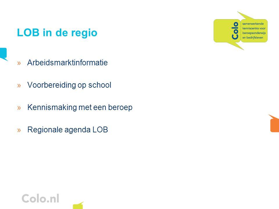 LOB in de regio »Arbeidsmarktinformatie »Voorbereiding op school »Kennismaking met een beroep »Regionale agenda LOB