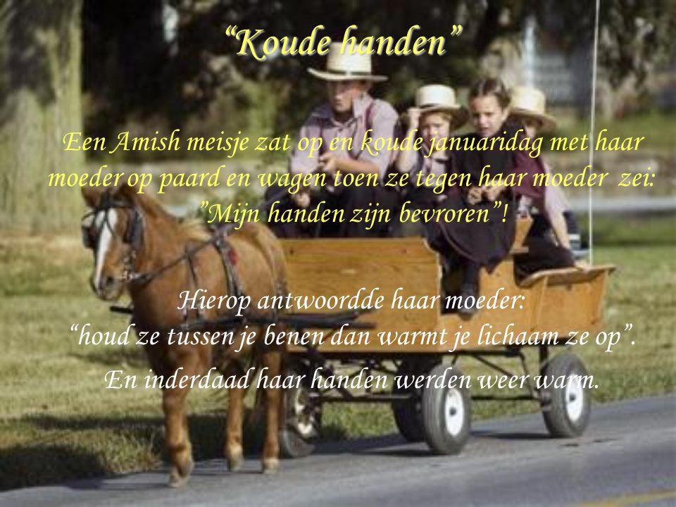 """""""Koude handen"""" Een Amish meisje zat op en koude januaridag met haar moeder op paard en wagen toen ze tegen haar moeder zei: """"Mijn handen zijn bevroren"""