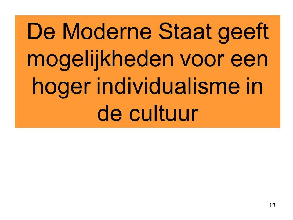 18 De Moderne Staat geeft mogelijkheden voor een hoger individualisme in de cultuur