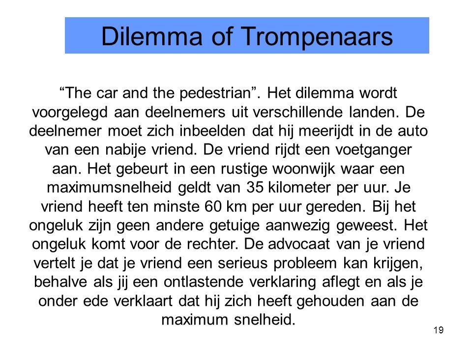 """19 Dilemma of Trompenaars """"The car and the pedestrian"""". Het dilemma wordt voorgelegd aan deelnemers uit verschillende landen. De deelnemer moet zich i"""