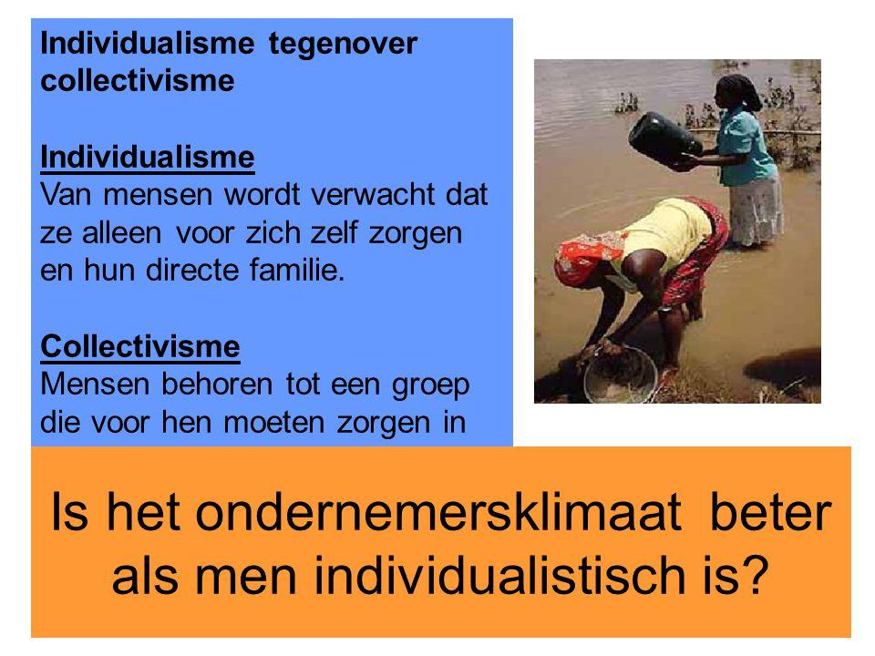 23 Individualisme tegenover collectivisme Individualisme Van mensen wordt verwacht dat ze alleen voor zich zelf zorgen en hun directe familie. Collect