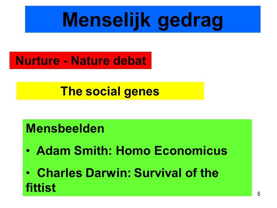 5 Nurture - Nature debat The social genes Mensbeelden Adam Smith: Homo Economicus Charles Darwin: Survival of the fittist Menselijk gedrag