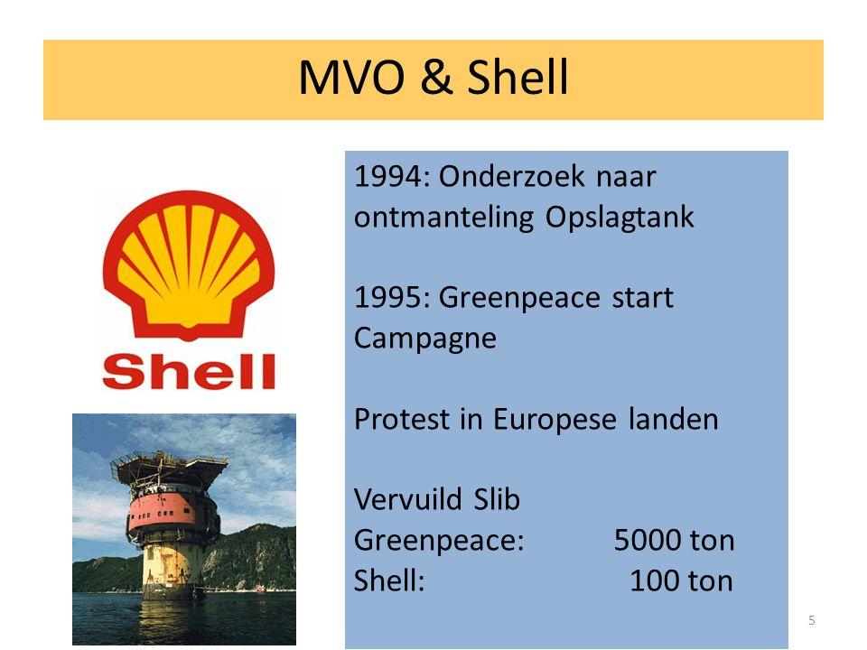 5 MVO & Shell 1994: Onderzoek naar ontmanteling Opslagtank 1995: Greenpeace start Campagne Protest in Europese landen Vervuild Slib Greenpeace: 5000 ton Shell: 100 ton