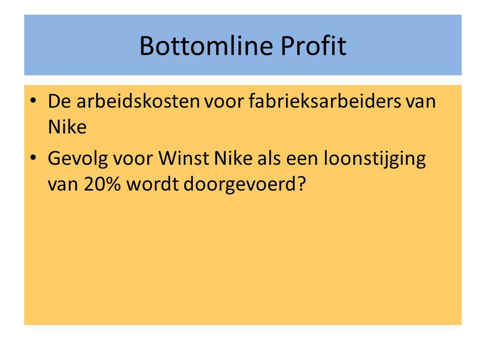 Bottomline Profit De arbeidskosten voor fabrieksarbeiders van Nike Gevolg voor Winst Nike als een loonstijging van 20% wordt doorgevoerd