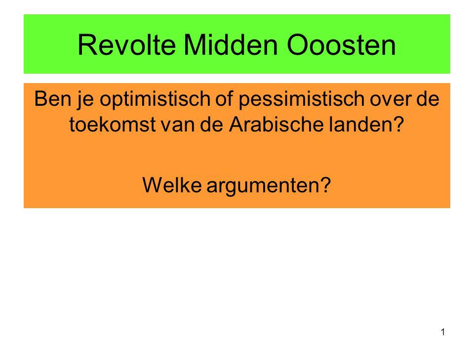 Revolte Midden Ooosten Ben je optimistisch of pessimistisch over de toekomst van de Arabische landen.