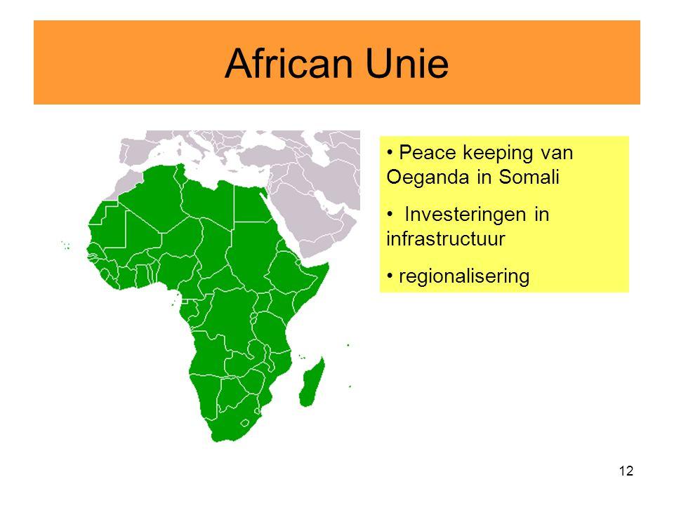12 African Unie Peace keeping van Oeganda in Somali Investeringen in infrastructuur regionalisering