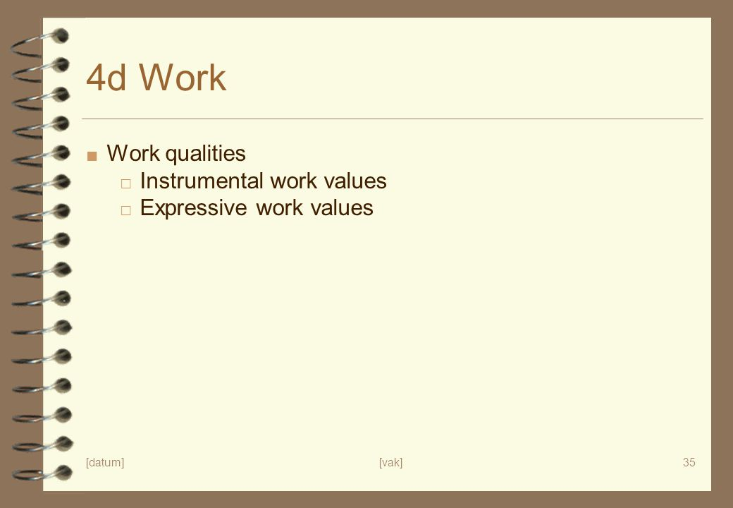 [datum][vak]35 4d Work ■ Work qualities □ Instrumental work values □ Expressive work values