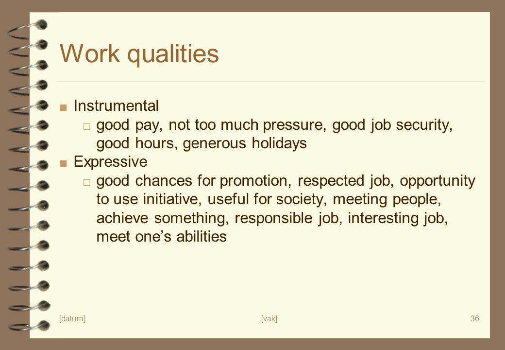 [datum][vak]36 Work qualities ■ Instrumental □ good pay, not too much pressure, good job security, good hours, generous holidays ■ Expressive □ good c