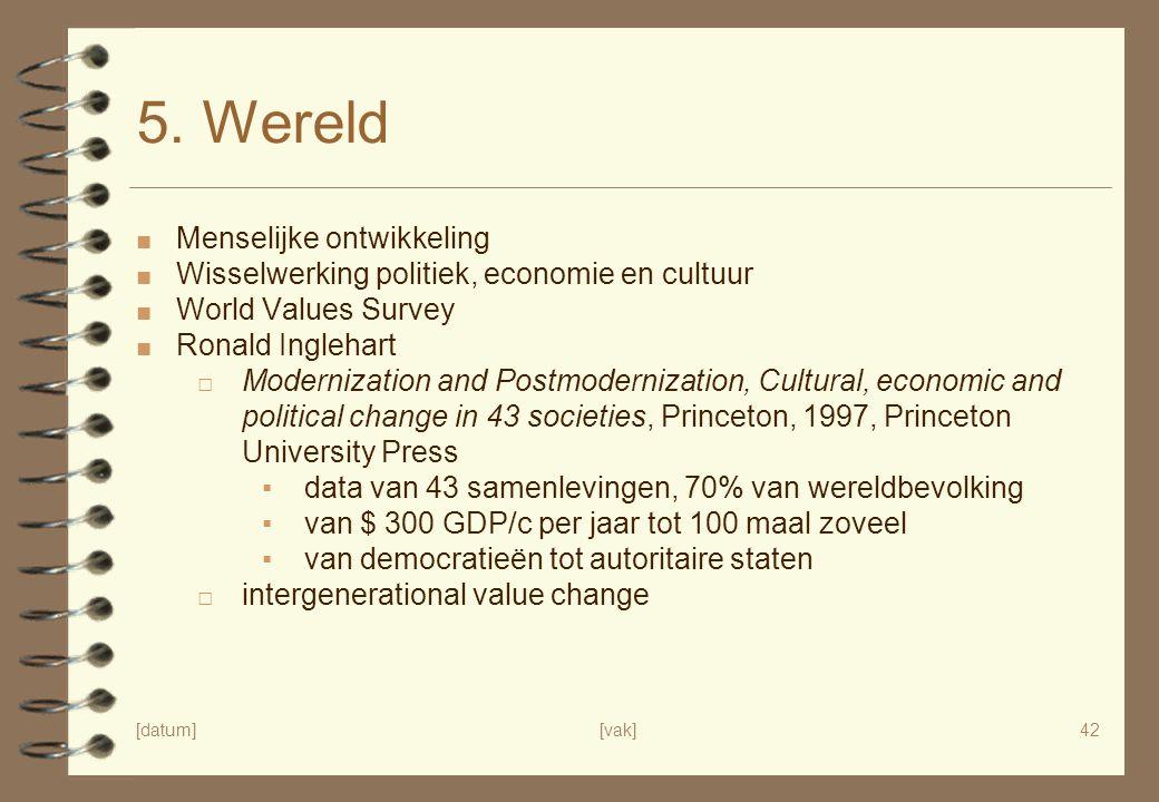 [datum][vak]42 5. Wereld ■ Menselijke ontwikkeling ■ Wisselwerking politiek, economie en cultuur ■ World Values Survey ■ Ronald Inglehart □ Modernizat