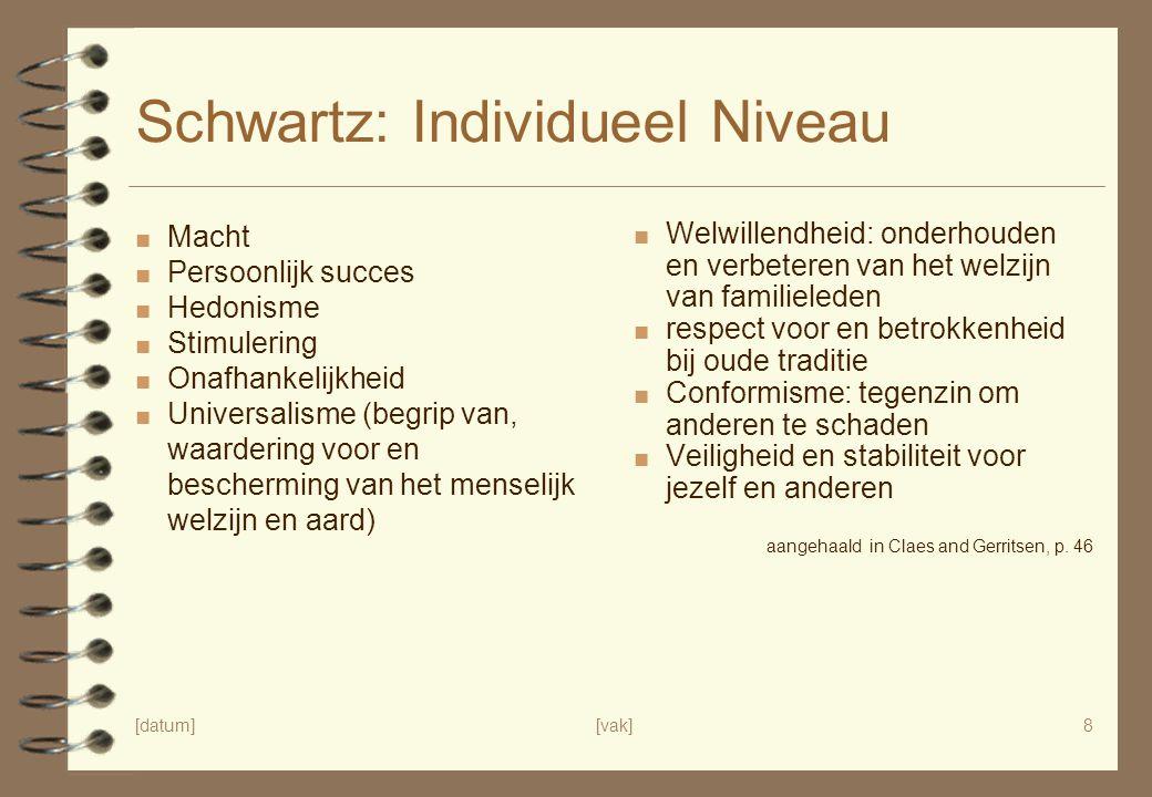 [datum][vak]8 Schwartz: Individueel Niveau ■ Macht ■ Persoonlijk succes ■ Hedonisme ■ Stimulering ■ Onafhankelijkheid ■ Universalisme (begrip van, waa