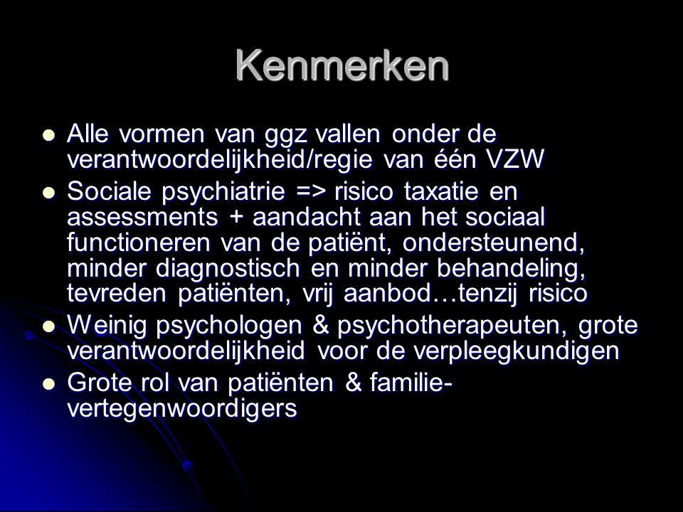 Kenmerken Alle vormen van ggz vallen onder de verantwoordelijkheid/regie van één VZW Alle vormen van ggz vallen onder de verantwoordelijkheid/regie van één VZW Sociale psychiatrie => risico taxatie en assessments + aandacht aan het sociaal functioneren van de patiënt, ondersteunend, minder diagnostisch en minder behandeling, tevreden patiënten, vrij aanbod…tenzij risico Sociale psychiatrie => risico taxatie en assessments + aandacht aan het sociaal functioneren van de patiënt, ondersteunend, minder diagnostisch en minder behandeling, tevreden patiënten, vrij aanbod…tenzij risico Weinig psychologen & psychotherapeuten, grote verantwoordelijkheid voor de verpleegkundigen Weinig psychologen & psychotherapeuten, grote verantwoordelijkheid voor de verpleegkundigen Grote rol van patiënten & familie- vertegenwoordigers Grote rol van patiënten & familie- vertegenwoordigers