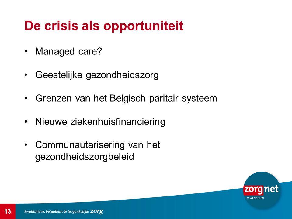 13 De crisis als opportuniteit Managed care? Geestelijke gezondheidszorg Grenzen van het Belgisch paritair systeem Nieuwe ziekenhuisfinanciering Commu