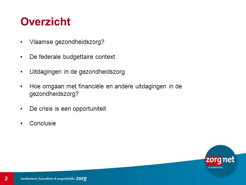 2 Overzicht Vlaamse gezondheidszorg? De federale budgettaire context Uitdagingen in de gezondheidszorg Hoe omgaan met financiële en andere uitdagingen