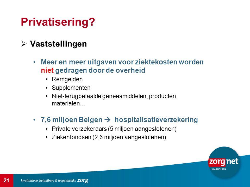 21 Privatisering?  Vaststellingen Meer en meer uitgaven voor ziektekosten worden niet gedragen door de overheid Remgelden Supplementen Niet-terugbeta