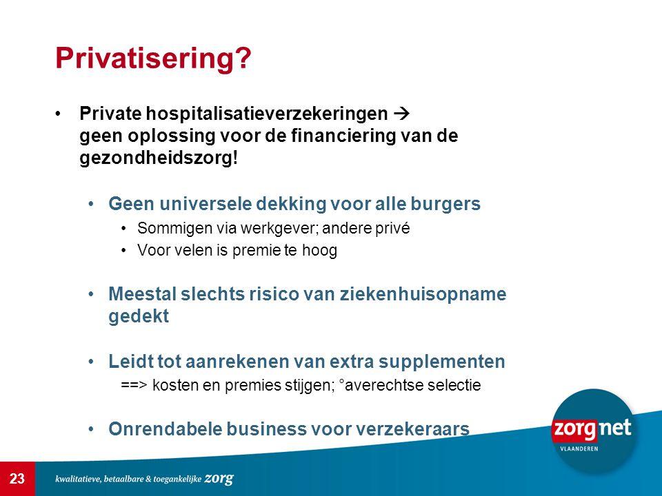 23 Privatisering? Private hospitalisatieverzekeringen  geen oplossing voor de financiering van de gezondheidszorg! Geen universele dekking voor alle