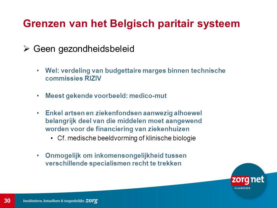 30 Grenzen van het Belgisch paritair systeem  Geen gezondheidsbeleid Wel: verdeling van budgettaire marges binnen technische commissies RIZIV Meest g