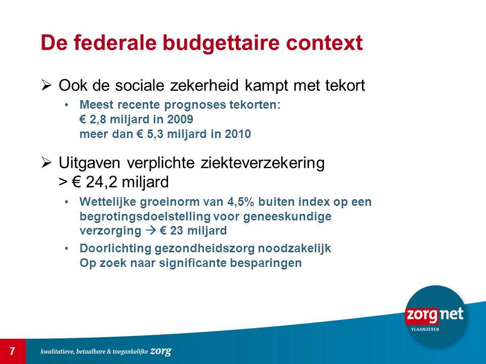 7 De federale budgettaire context  Ook de sociale zekerheid kampt met tekort Meest recente prognoses tekorten: € 2,8 miljard in 2009 meer dan € 5,3 m