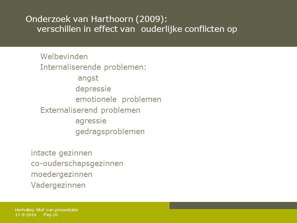 Pag. Onderzoek van Harthoorn (2009): verschillen in effect van ouderlijke conflicten op Welbevinden Internaliserende problemen: angst depressie emotio