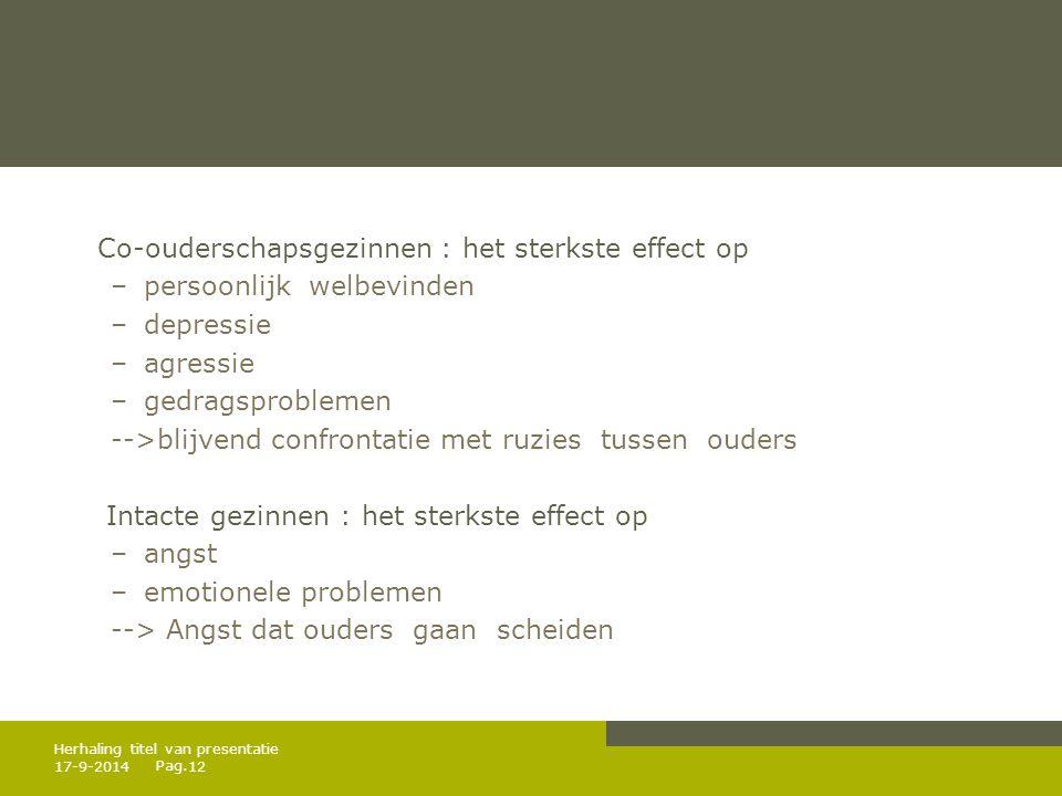 Pag. Co-ouderschapsgezinnen : het sterkste effect op –persoonlijk welbevinden –depressie –agressie –gedragsproblemen -->blijvend confrontatie met ruzi