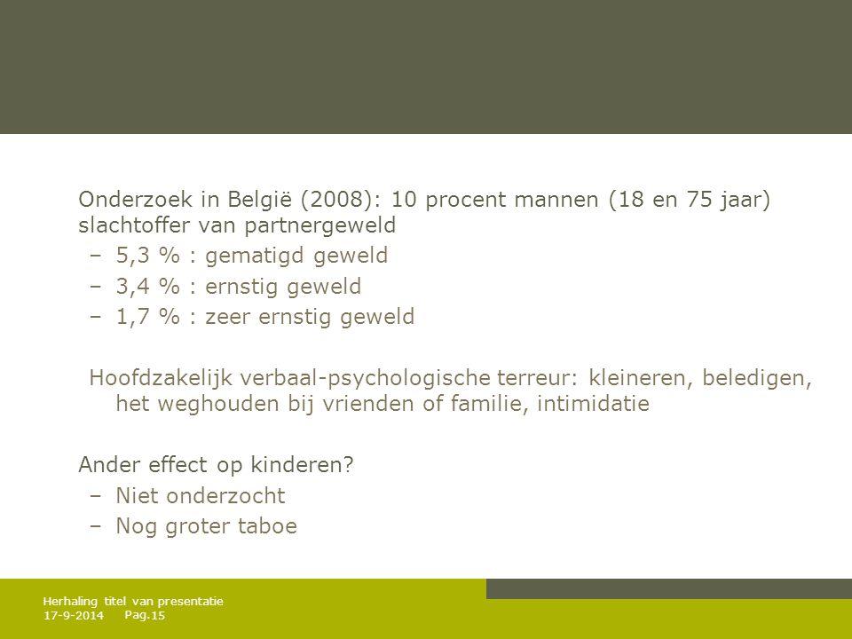 Pag. Onderzoek in België (2008): 10 procent mannen (18 en 75 jaar) slachtoffer van partnergeweld –5,3 % : gematigd geweld –3,4 % : ernstig geweld –1,7