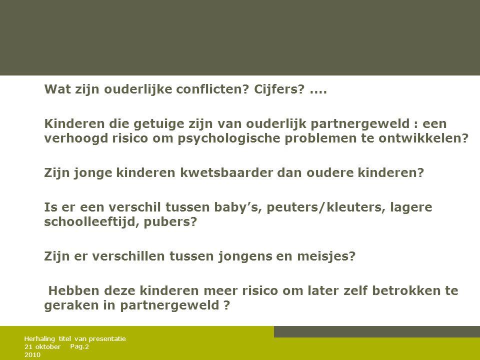 Pag. Wat zijn ouderlijke conflicten? Cijfers?.... Kinderen die getuige zijn van ouderlijk partnergeweld : een verhoogd risico om psychologische proble