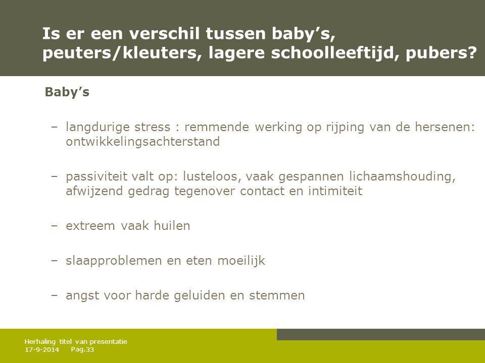 Pag. Is er een verschil tussen baby's, peuters/kleuters, lagere schoolleeftijd, pubers? Baby's –langdurige stress : remmende werking op rijping van de