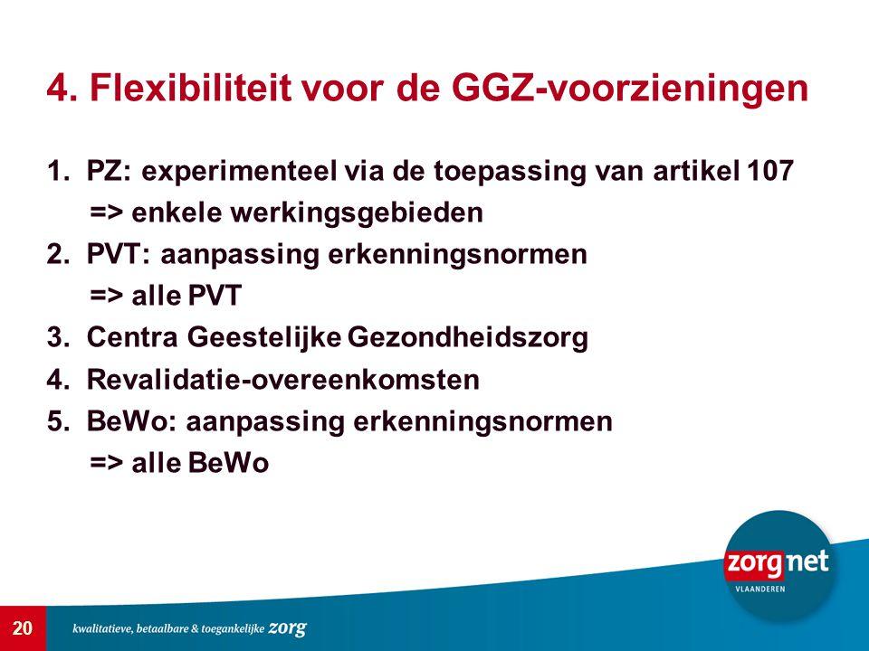20 4. Flexibiliteit voor de GGZ-voorzieningen 1. PZ: experimenteel via de toepassing van artikel 107 => enkele werkingsgebieden 2. PVT: aanpassing erk