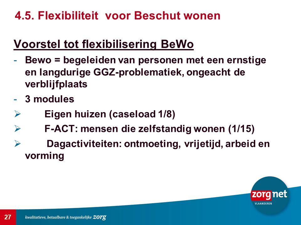 27 Voorstel tot flexibilisering BeWo -Bewo = begeleiden van personen met een ernstige en langdurige GGZ-problematiek, ongeacht de verblijfplaats -3 mo