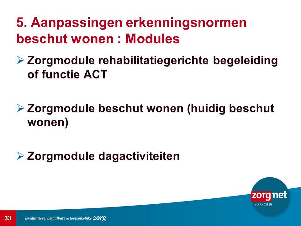 33 5. Aanpassingen erkenningsnormen beschut wonen : Modules  Zorgmodule rehabilitatiegerichte begeleiding of functie ACT  Zorgmodule beschut wonen (
