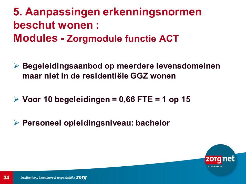 34 5. Aanpassingen erkenningsnormen beschut wonen : Modules - Zorgmodule functie ACT  Begeleidingsaanbod op meerdere levensdomeinen maar niet in de r