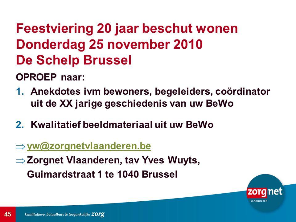 45 Feestviering 20 jaar beschut wonen Donderdag 25 november 2010 De Schelp Brussel OPROEP naar: 1.Anekdotes ivm bewoners, begeleiders, coördinator uit