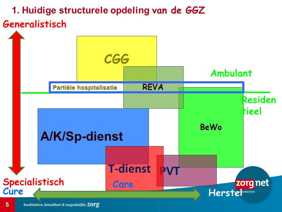 5 CGG A/K/Sp-dienst BeWo PVT T-dienst REVA Generalistisch Specialistisch Cure Care Herstel Ambulant Residen tieel Partiële hospitalisatie 1. Huidige s